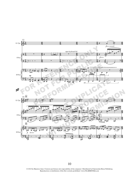 Rapsodia camaleónica, for trumpet and 2 pianos
