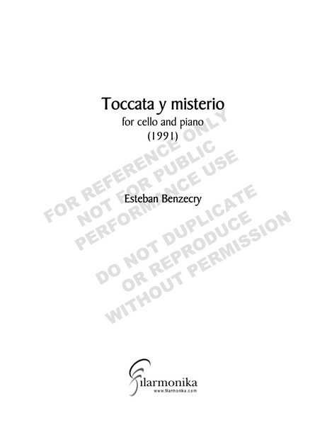 Toccata y misterio, for cello and piano