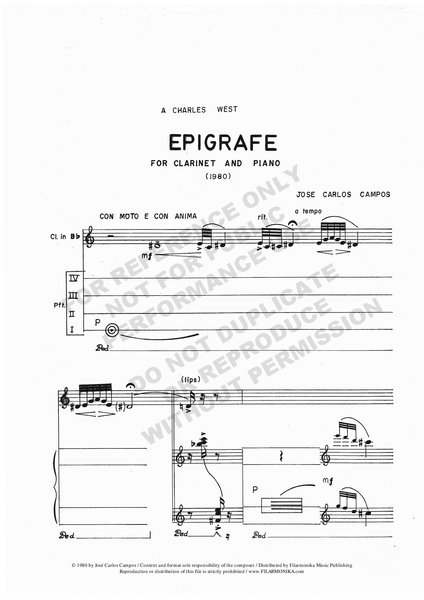 Epígrafe, for clarinet and piano