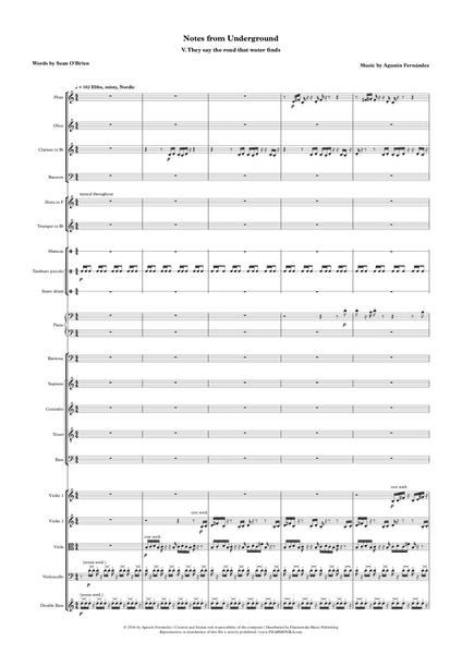 Notes from Underground, for baritone, choir, and ensemble