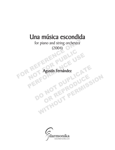 Una música escondida, for piano and strings