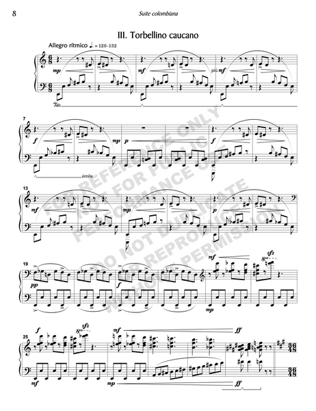 Suite colombiana, for solo piano