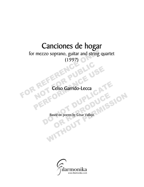 Canciones de hogar, for voice and chamber ensamble