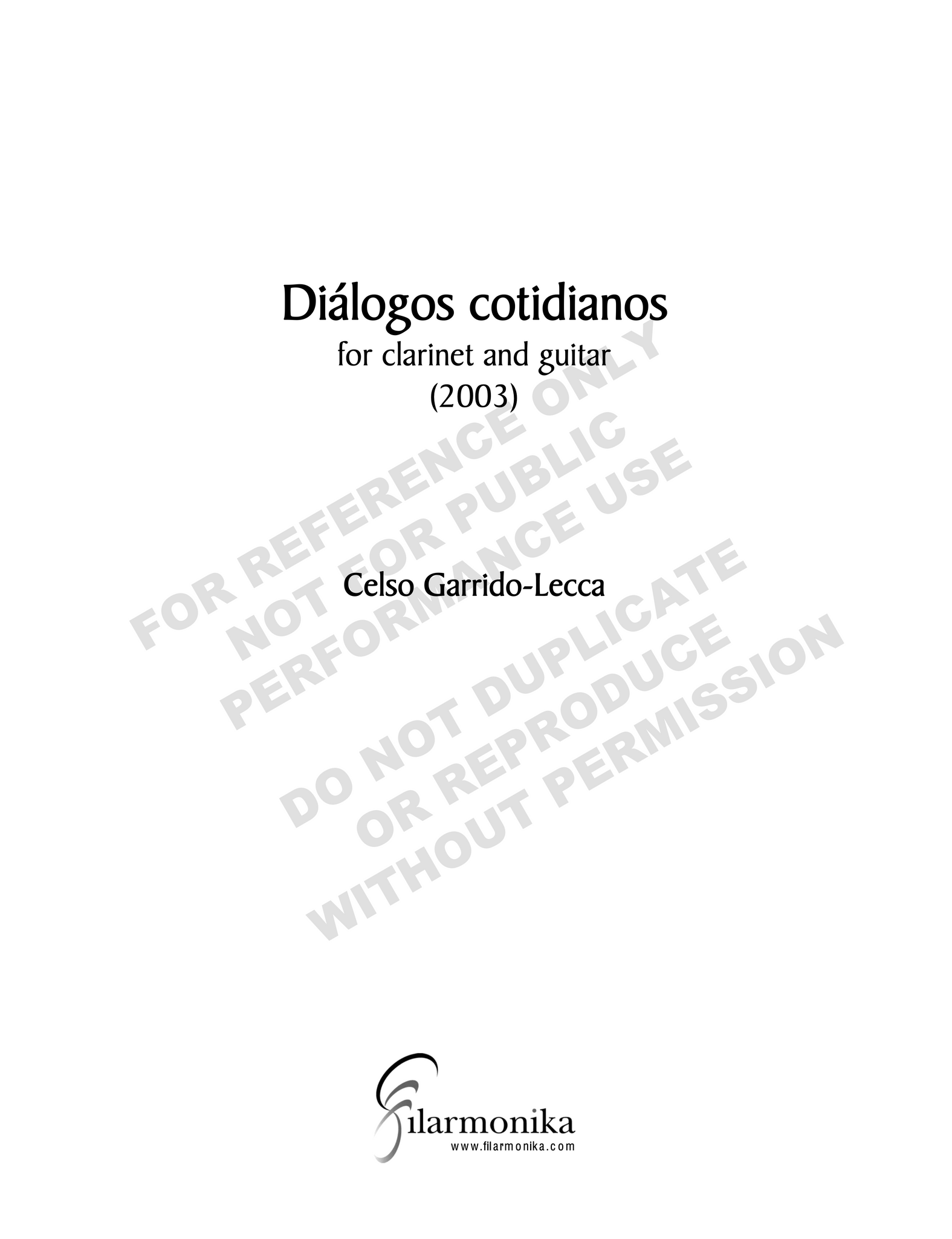 Diálogos cotidianos, for clarinet and guitar