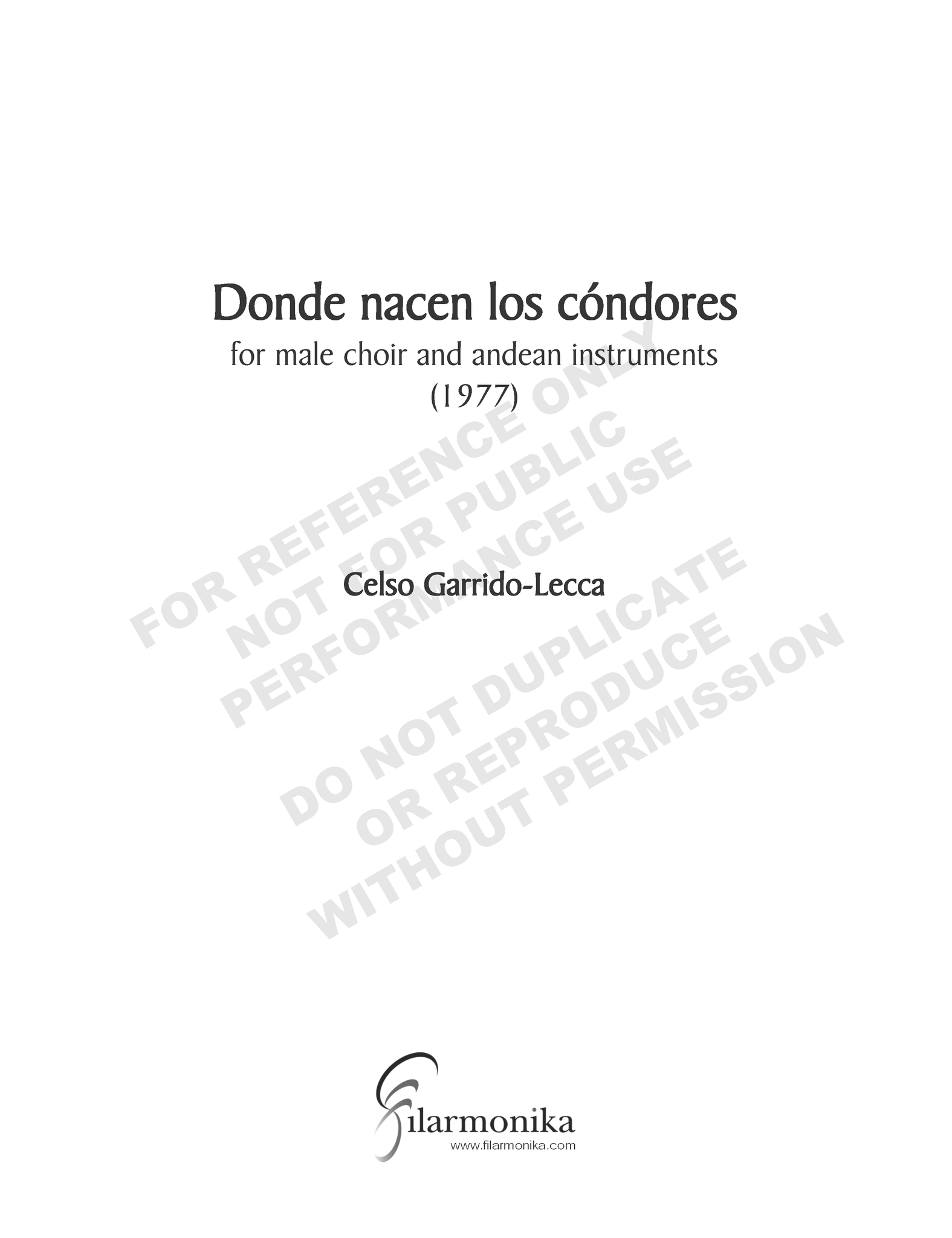 Donde nacen los cóndores, for male choir and andean instruments