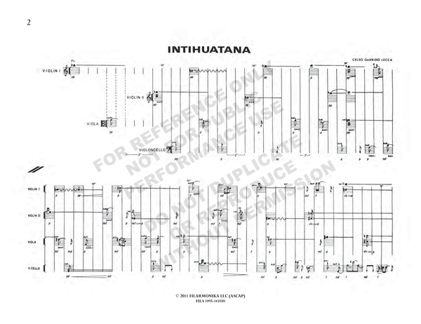 Intihuatana, for string quartet