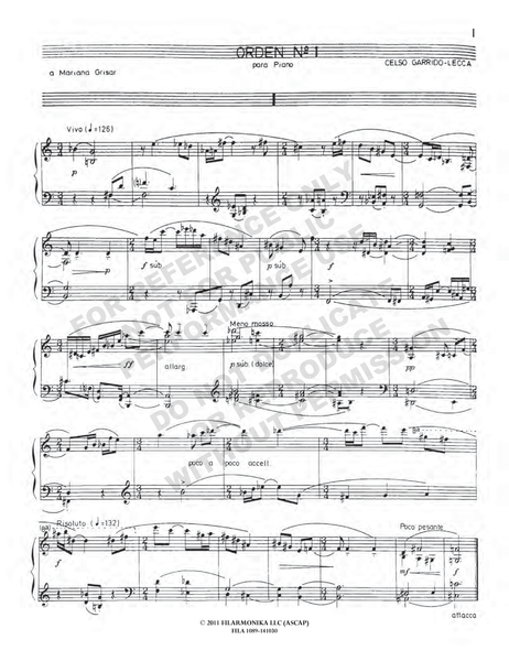 Orden Nº 1, for solo piano