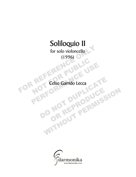 Soliloquio II, for solo cello