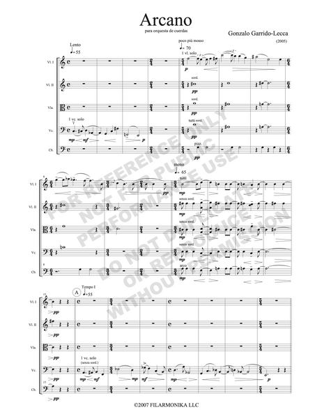 Arcano, for string orchestra