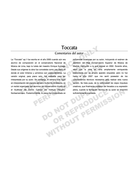 Tocatta Op. 1, for orchestra