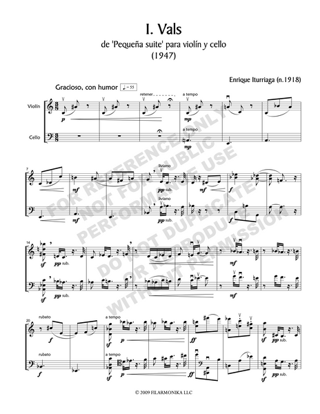 Pequeña suite, for violin and cello