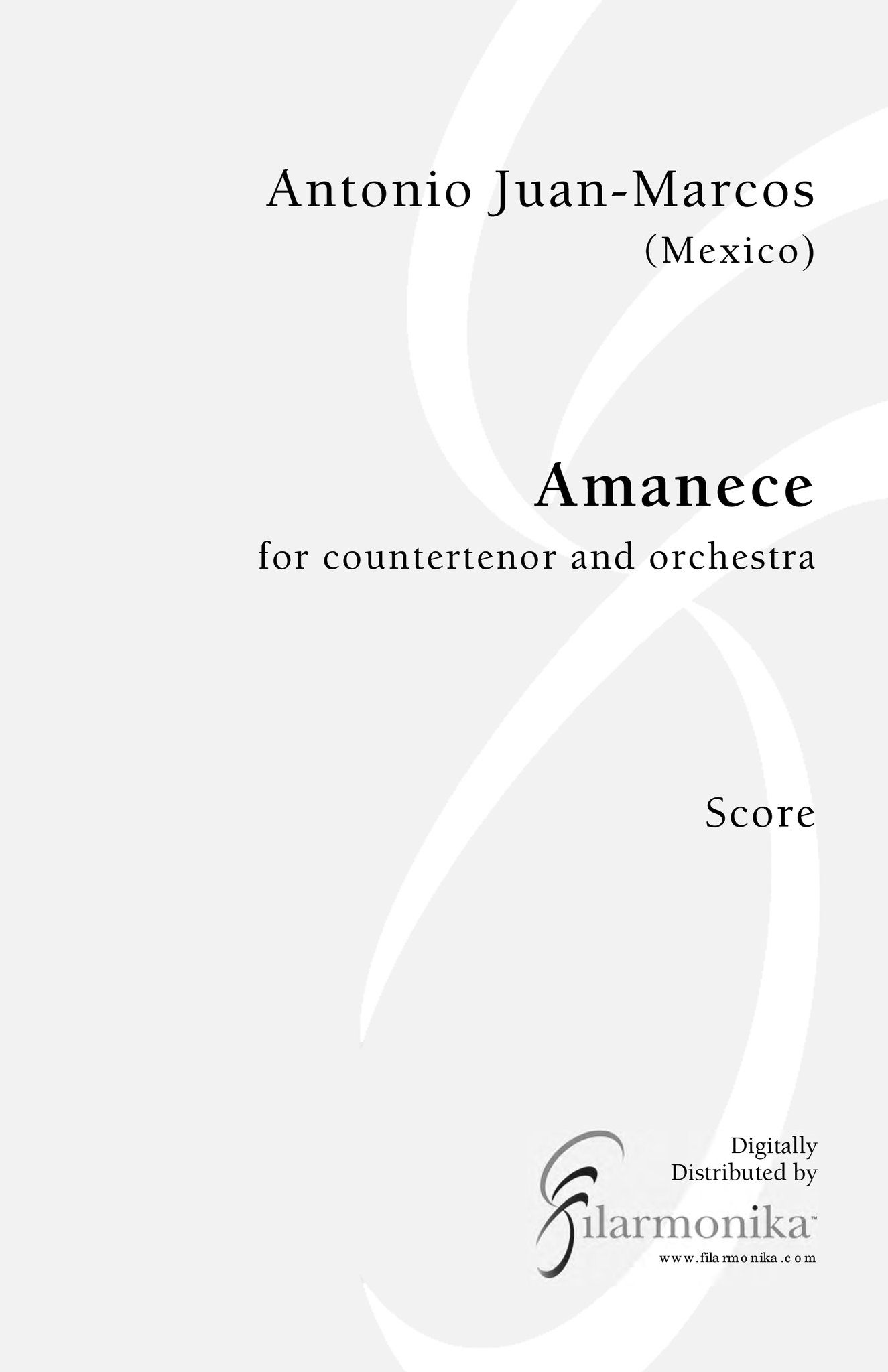 Amanece, for countertenor and orchestra
