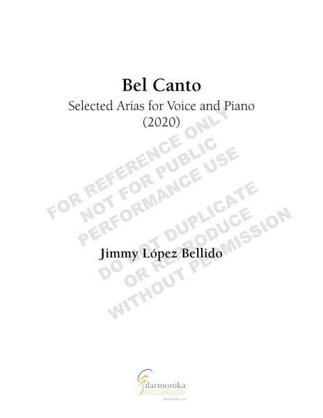 Bel Canto: Selected Arias for Voice and Piano