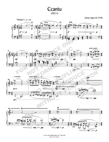 Ccantu, for solo piano