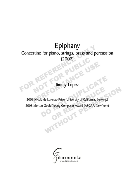 Epipahny, concertino for piano, strings, brass and percussion