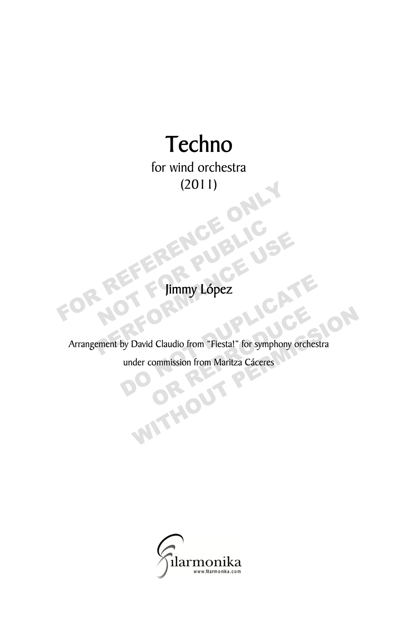 Techno, for Fiesta!, for wind orchestra (arr.Claudio)