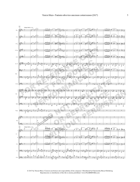Fantasía sobre tres canciones costarricenses, for orchestra