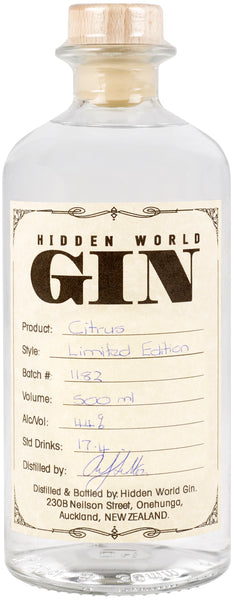 Hidden World Citrus Gin - LIMITED EDITION - 500ml 44% - GinZealand
