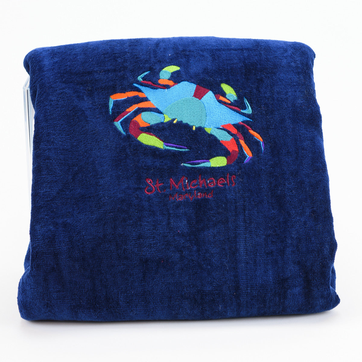Embroidered SM Crab Beach Towel - Navy Blue
