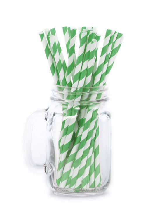 Paper Straws <br>Striped Green