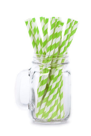 Paper Straws <br>Striped Lime Green