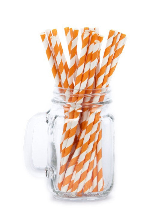 Paper Straws <br>Striped Orange