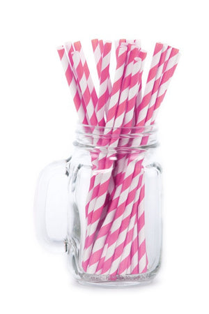 Paper Straws <br>Striped Pink