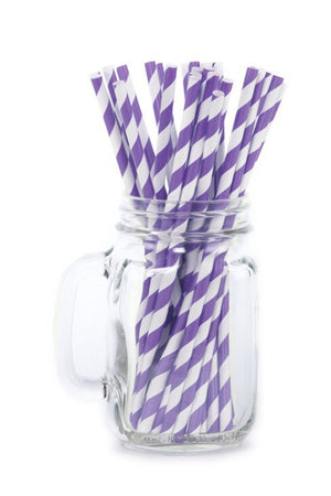 Paper Straws <br>Striped Purple