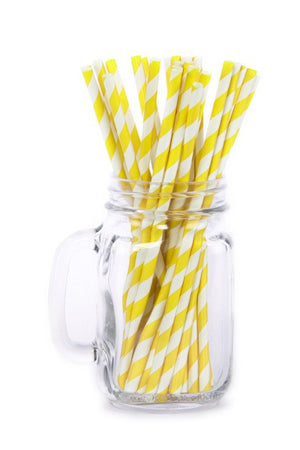 Paper Straws <br>Striped Yellow