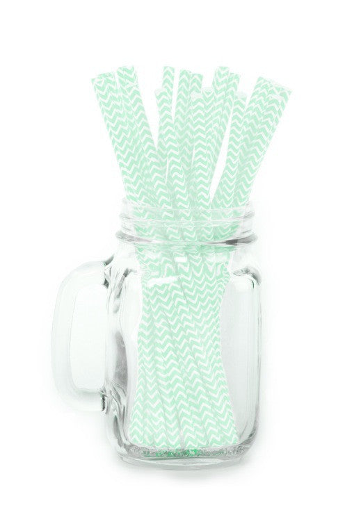 Paper Straws <br>Chevron Mint Green