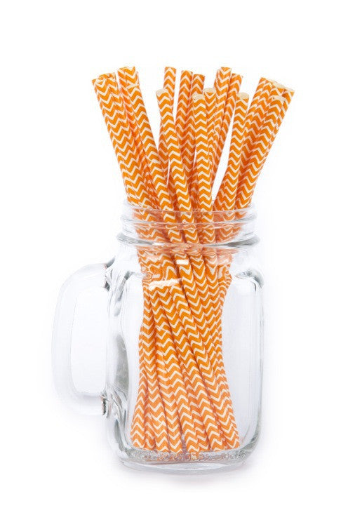 Paper Straws <br>Chevron Orange