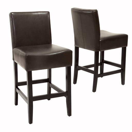 Grenville Backless Brown Leather Counter Stools Set Of 2