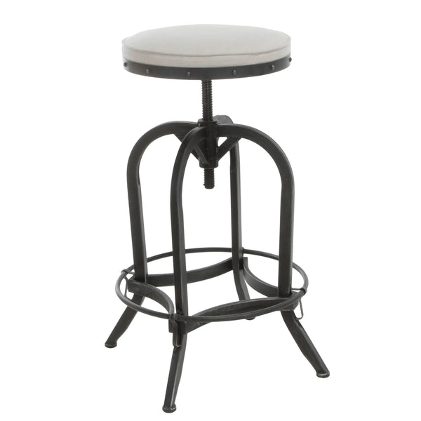 Brixton Industrial Design Adjustable Swivel Iron Bar Stool In Beige Li U2014  Denise Austin Home