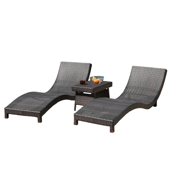 Overton Outdoor 3 Piece Brown Wicker Chaise Lounge Chair And Accent