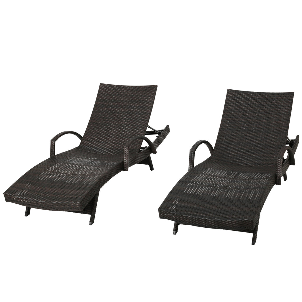 Salem Outdoor Wicker Adjustable Chaise Lounge with Arms set of 2