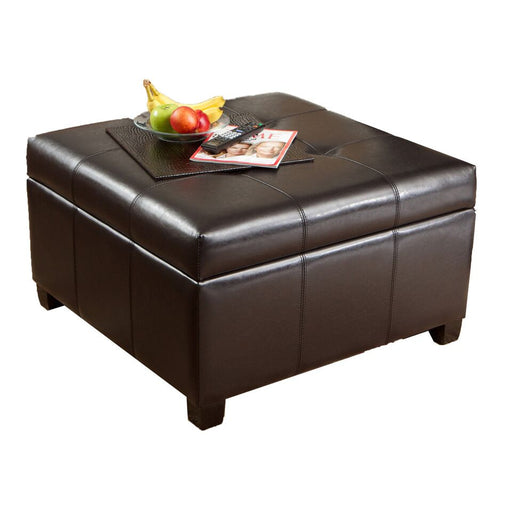 Malcolm Brown Tufted Leather Storage Ottoman Coffee Table