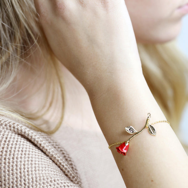 Anni Red Petal Rose Bracelet