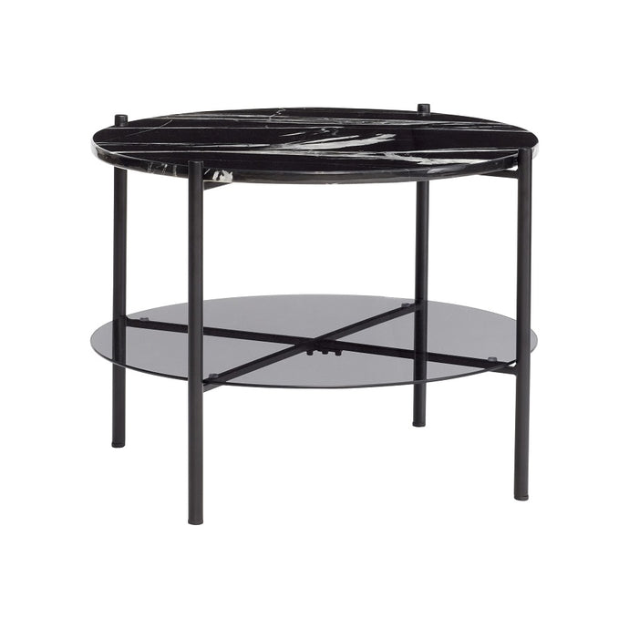 Round Coffee Table - Metal/Marble/Glass