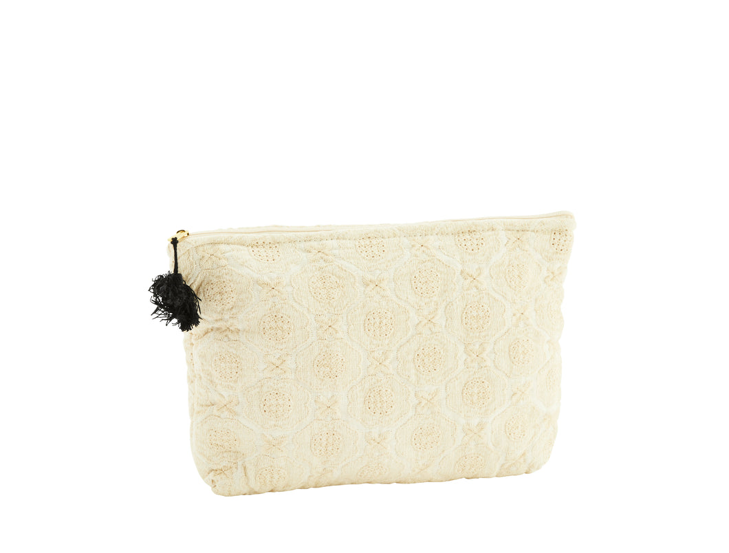 Embroidered linen toiletry bag w/tassel -small