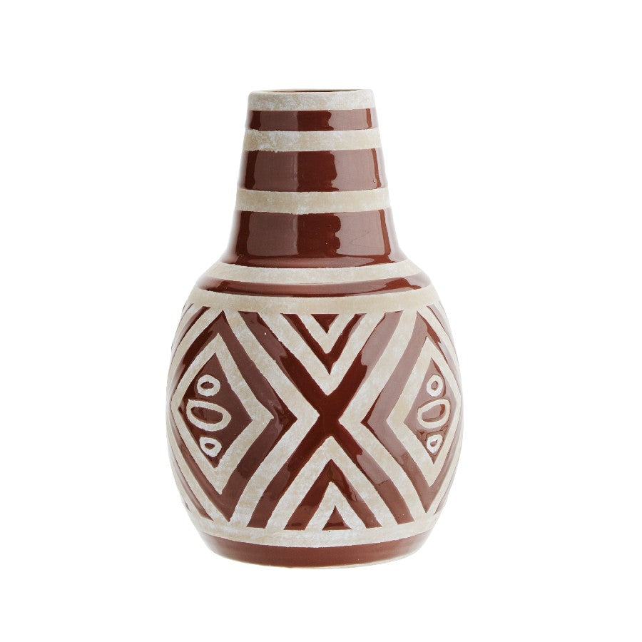 Tribal Design Vase - Brown/White