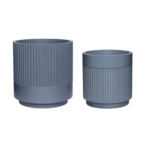Plaster Plant Pots - Set of Two - Dark Grey
