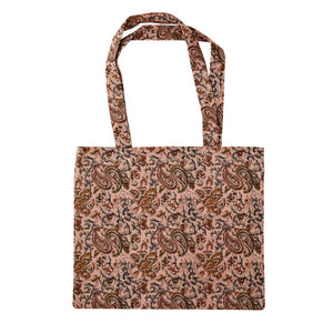 Printed Cotton Tote Bag - Dusty Rose