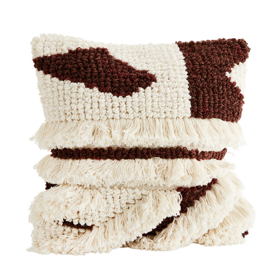 Fringed Wool Cushion Cover - Bordeaux/White