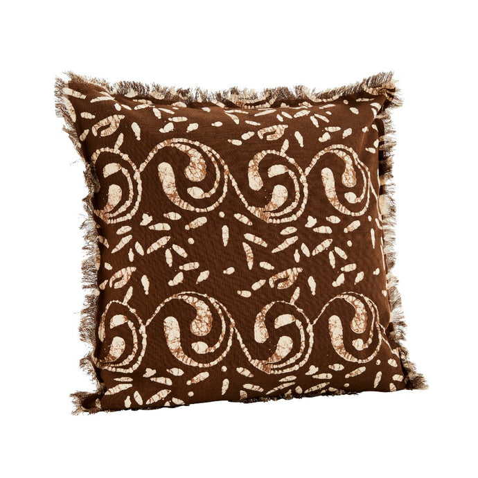 Printed Cotton Cushion Cover - Chocolate