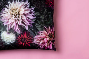 Dahlia Darkness Silk Velvet Cushion Cover