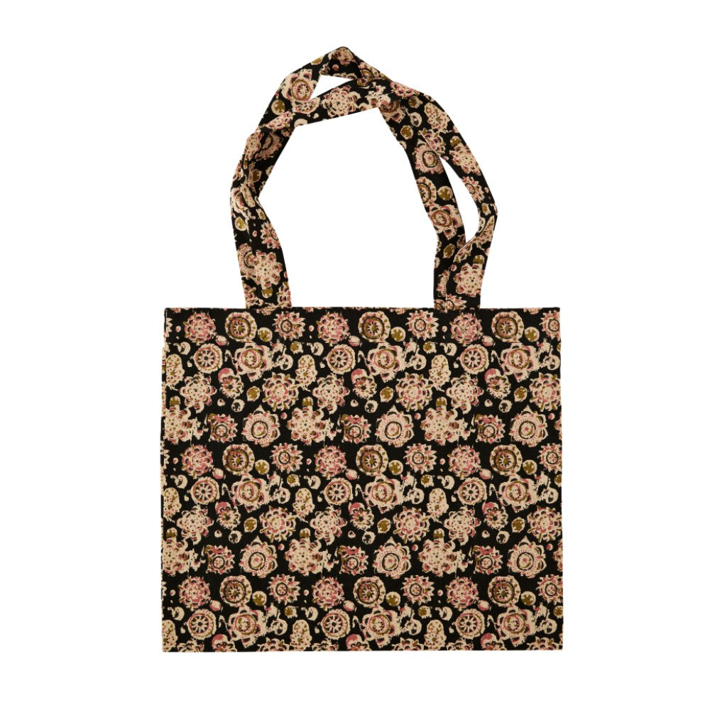 Printed Cotton Tote Bag - Black
