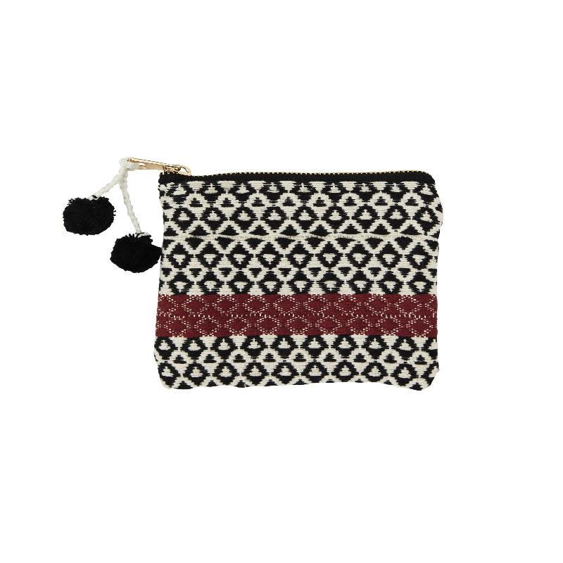 Cotton Coin Purse - Woven - With Red Strip