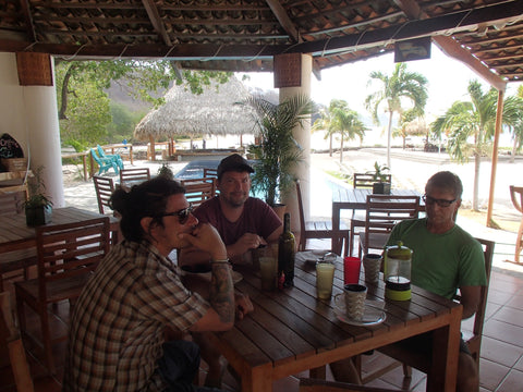 T, V and J at breakfast in Nicaragua