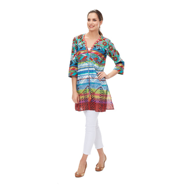 Tribal Beaded KikiSol Tunic with Tassel