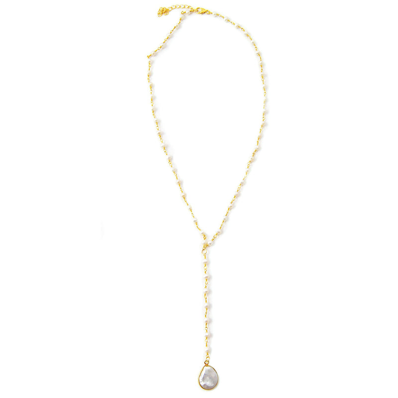 Luna Lariat Necklace Pearl